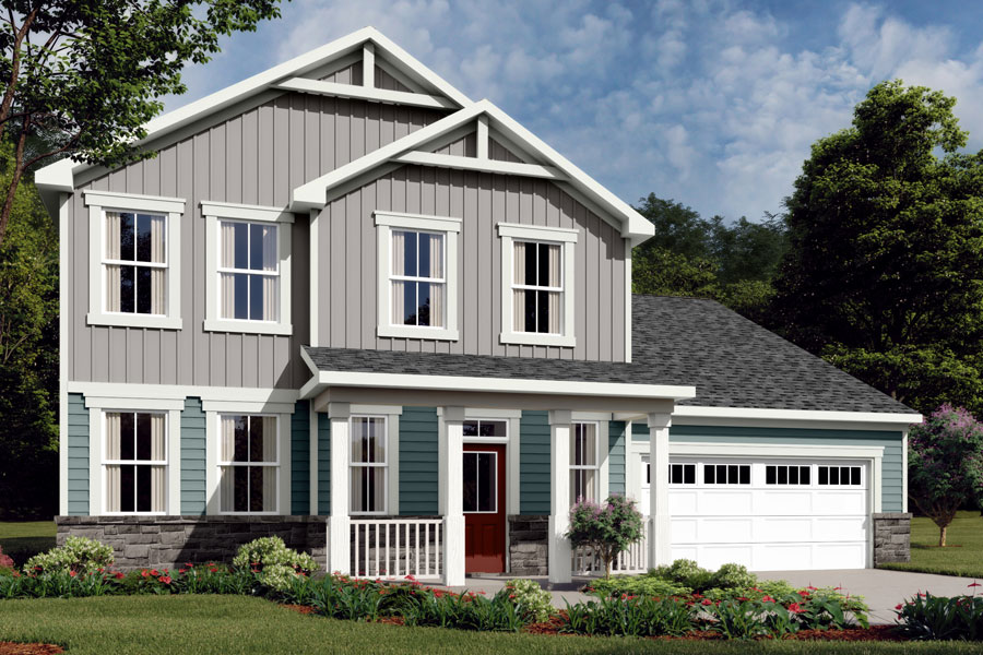 Winston Plan Elevation Front at Ballentine Place in Holly Springs North Carolina by Mattamy Homes