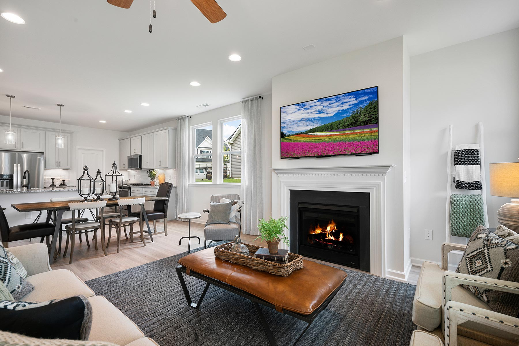 Amelia Plan Greatroom at Bedford at Flowers Plantation in Clayton North Carolina by Mattamy Homes