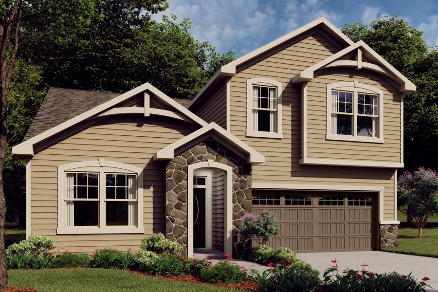 Amelia Plan Elevation Front at Bedford at Flowers Plantation in Clayton North Carolina by Mattamy Homes