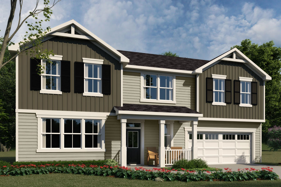 Kendall Plan Elevation Front at Bedford at Flowers Plantation in Clayton North Carolina by Mattamy Homes