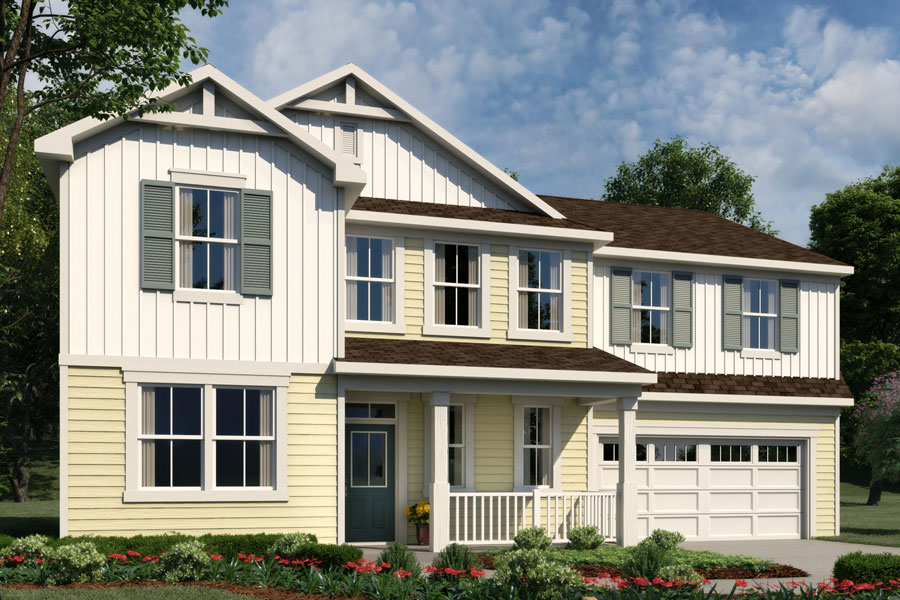 Parker Plan Elevation Front at Bedford at Flowers Plantation in Clayton North Carolina by Mattamy Homes