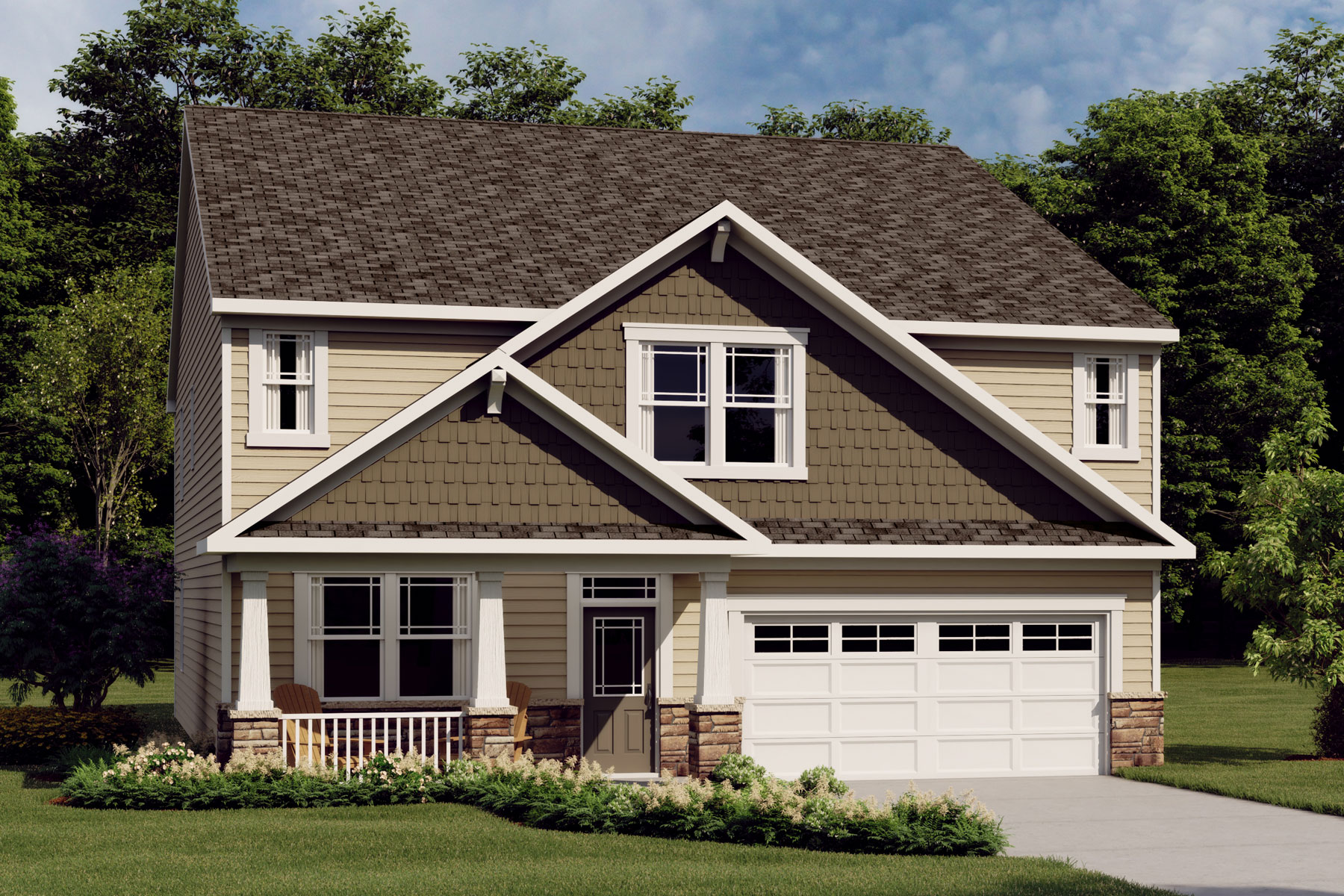 Decker Plan Elevation Front at Bent Tree in Fuquay-Varina North Carolina by Mattamy Homes