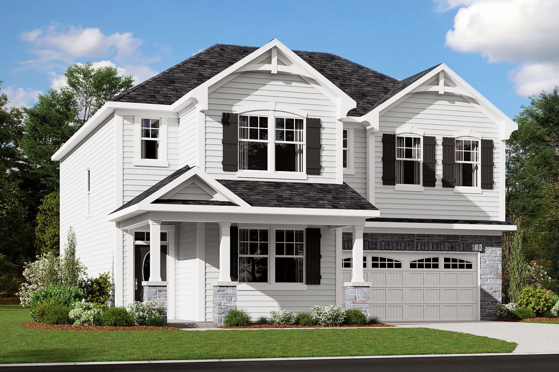Decker Plan elevationfrenchcountry_benttree_decker at Bent Tree in Fuquay-Varina North Carolina by Mattamy Homes