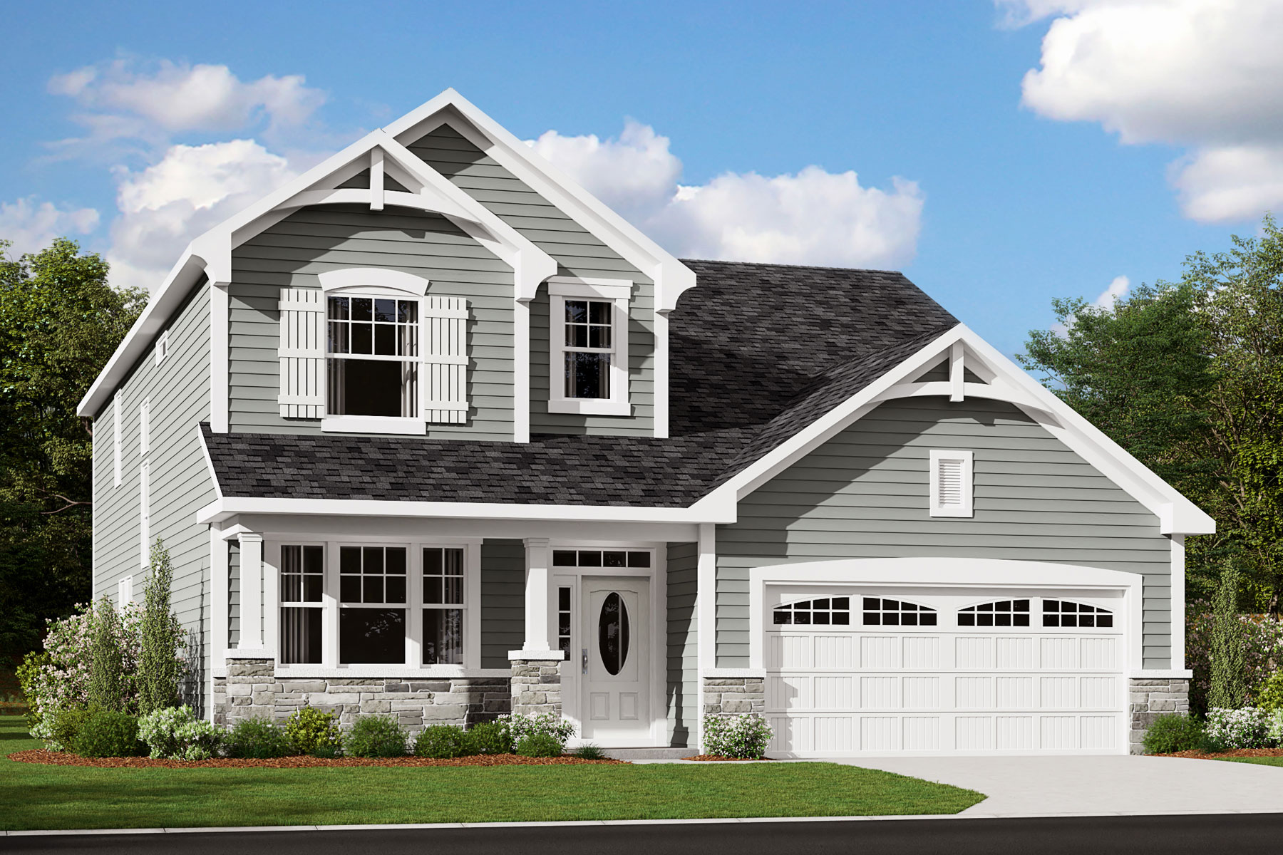 Pierce Plan Elevation Front at Bent Tree in Fuquay-Varina North Carolina by Mattamy Homes