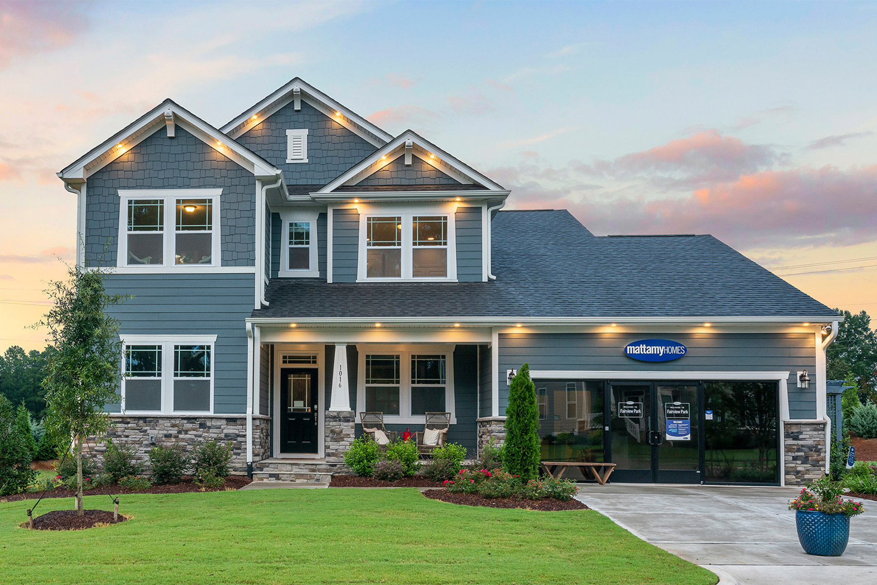 Larkin Plan Elevation Front at Fairview Park in Cary North Carolina by Mattamy Homes