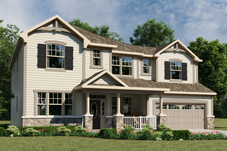 Mitchell Plan Elevation Front at Fairview Park in Cary North Carolina by Mattamy Homes