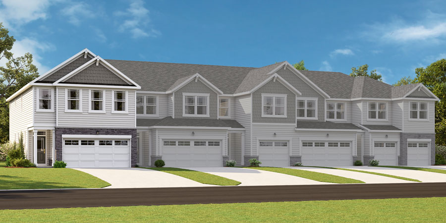 Blayre Plan Elevation Front at Minglewood Townhomes in Garner North Carolina by Mattamy Homes