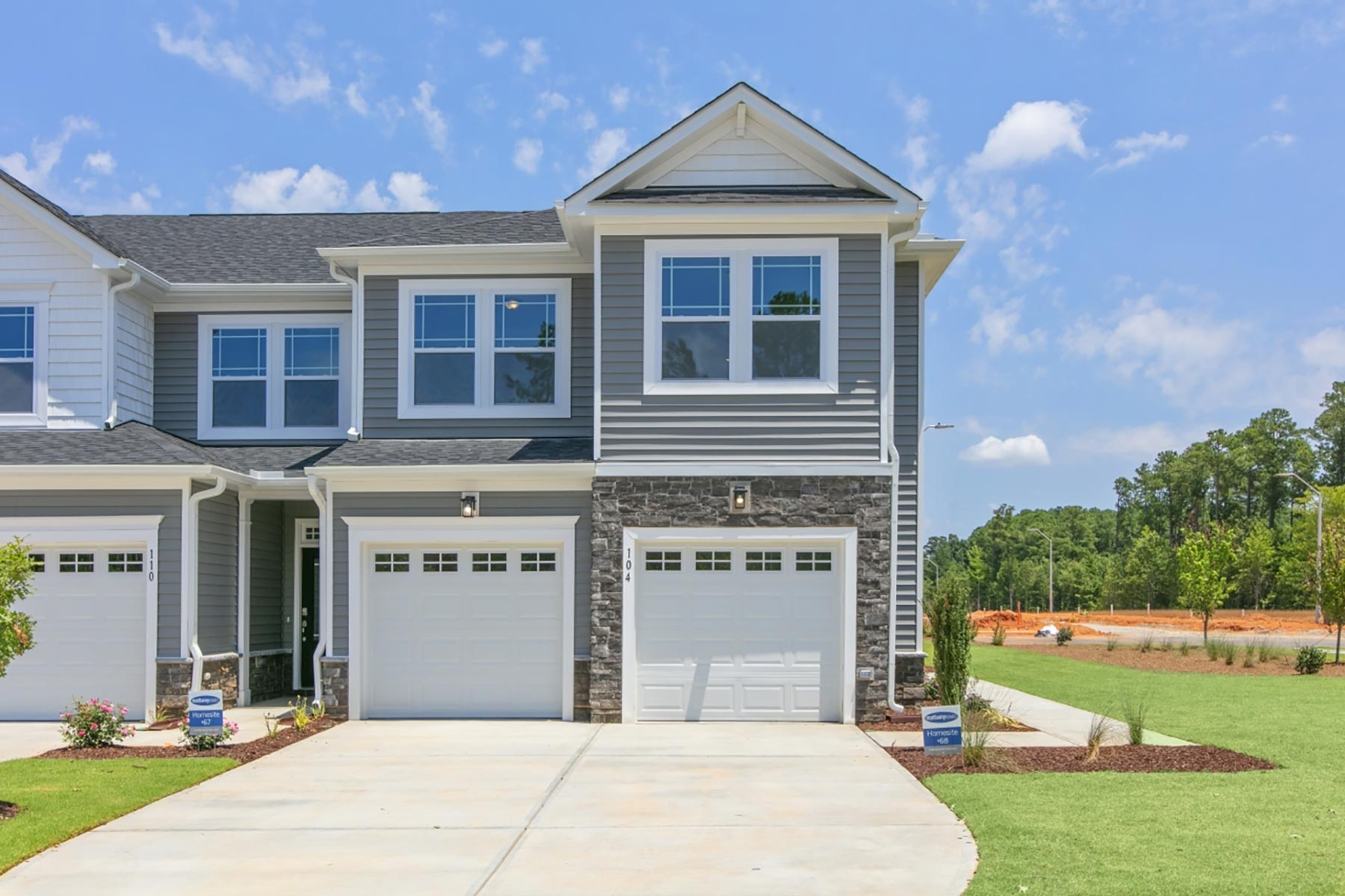 Clifton Plan Elevation Front at Minglewood Townhomes in Garner North Carolina by Mattamy Homes