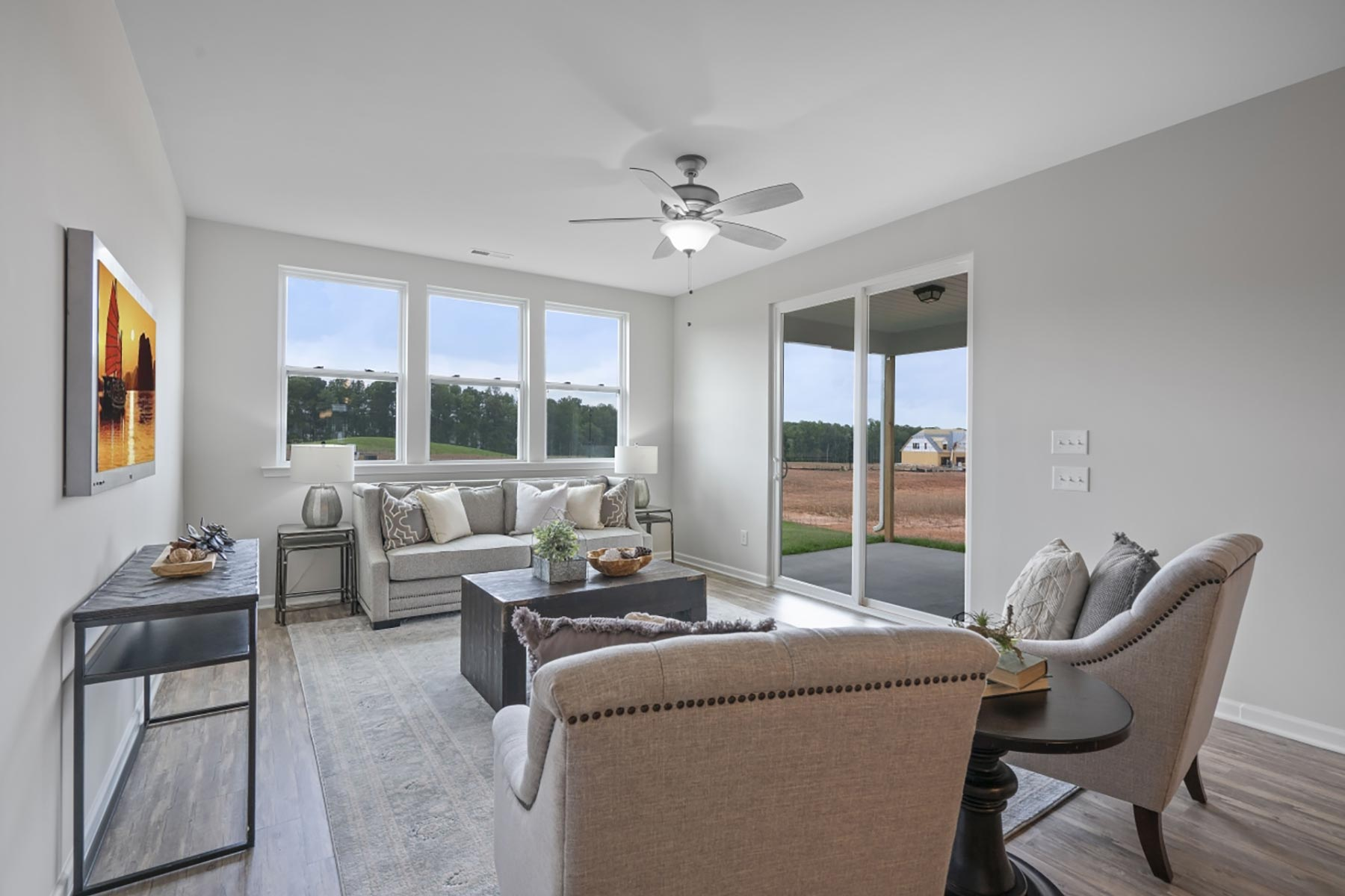Evelyn Plan Greatroom at Wendell Falls in Wendell North Carolina by Mattamy Homes