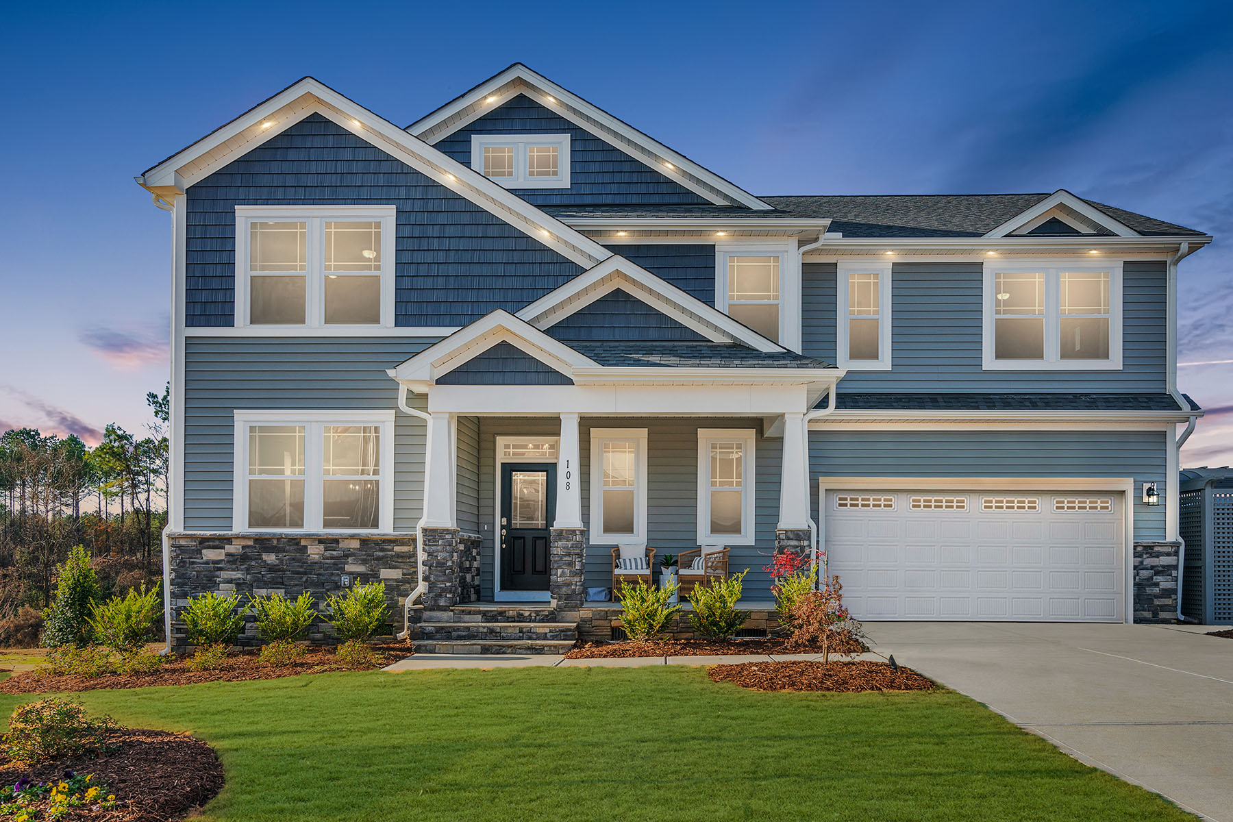 Parker Plan Elevation Front at Ballentine Place in Holly Springs North Carolina by Mattamy Homes