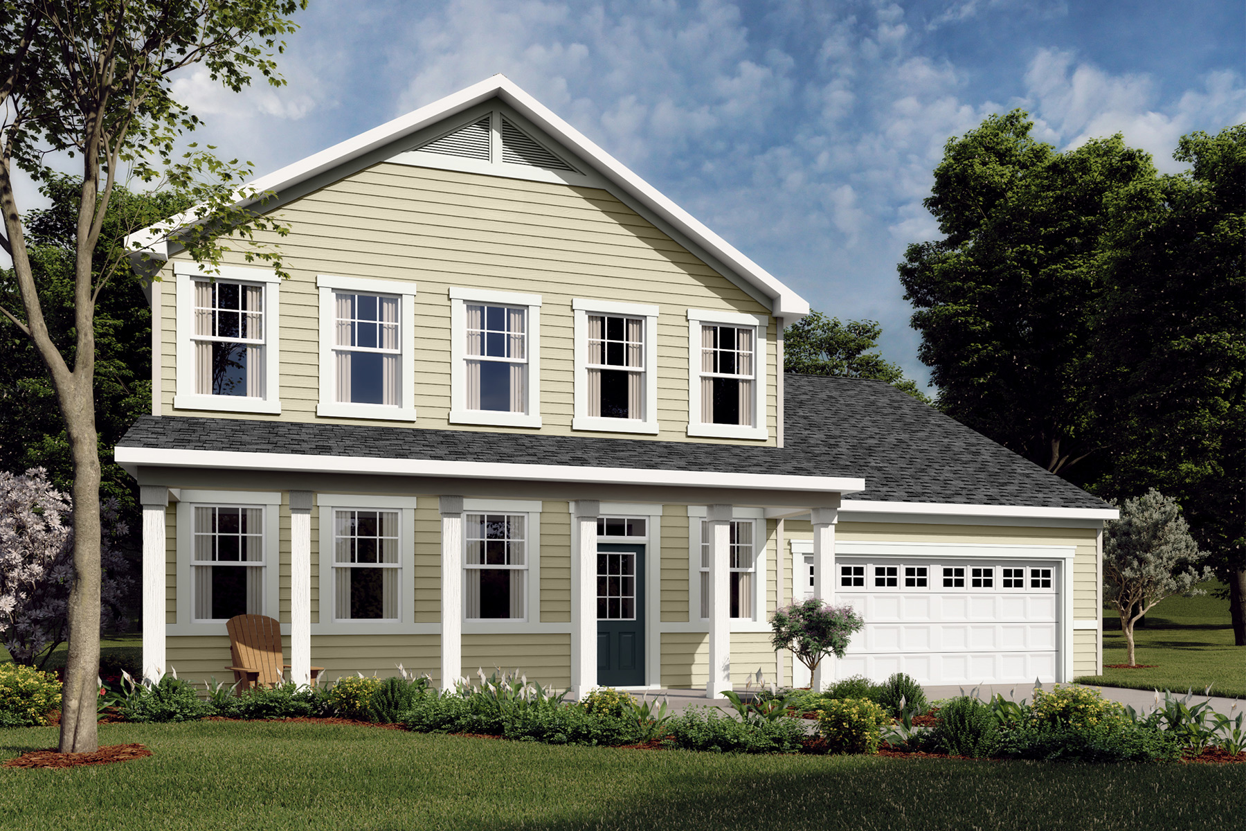 Winston Plan Elevation Front at Oak Park in Garner North Carolina by Mattamy Homes