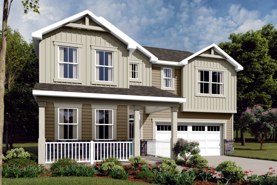 Gaines Plan ElevationFarmhouse_WendellFalls_Gaines_900x600 at Wendell Falls in Wendell North Carolina by Mattamy Homes