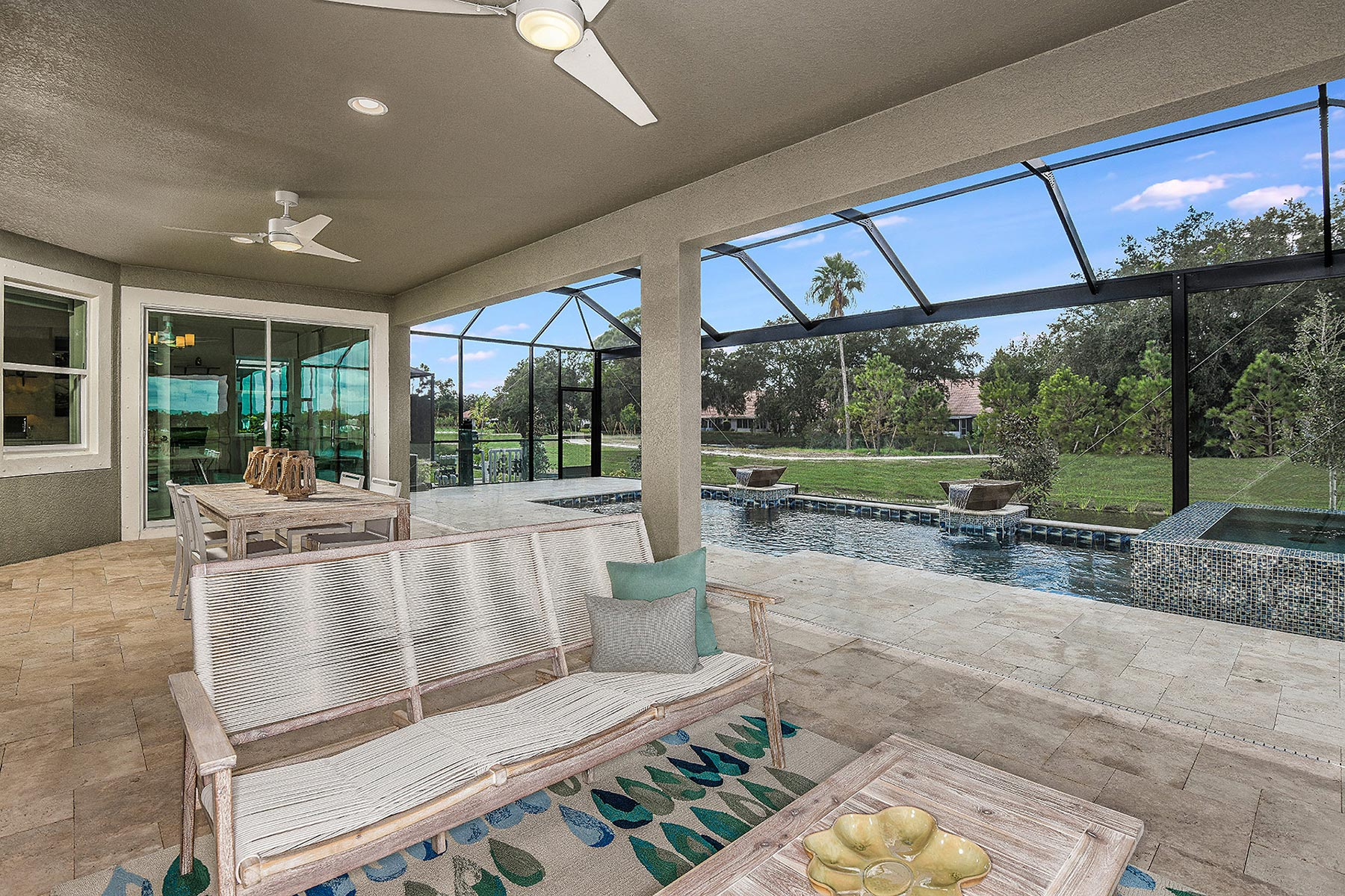 Jubilee Plan Patio at Sunrise Preserve at Palmer Ranch in Sarasota Florida by Mattamy Homes