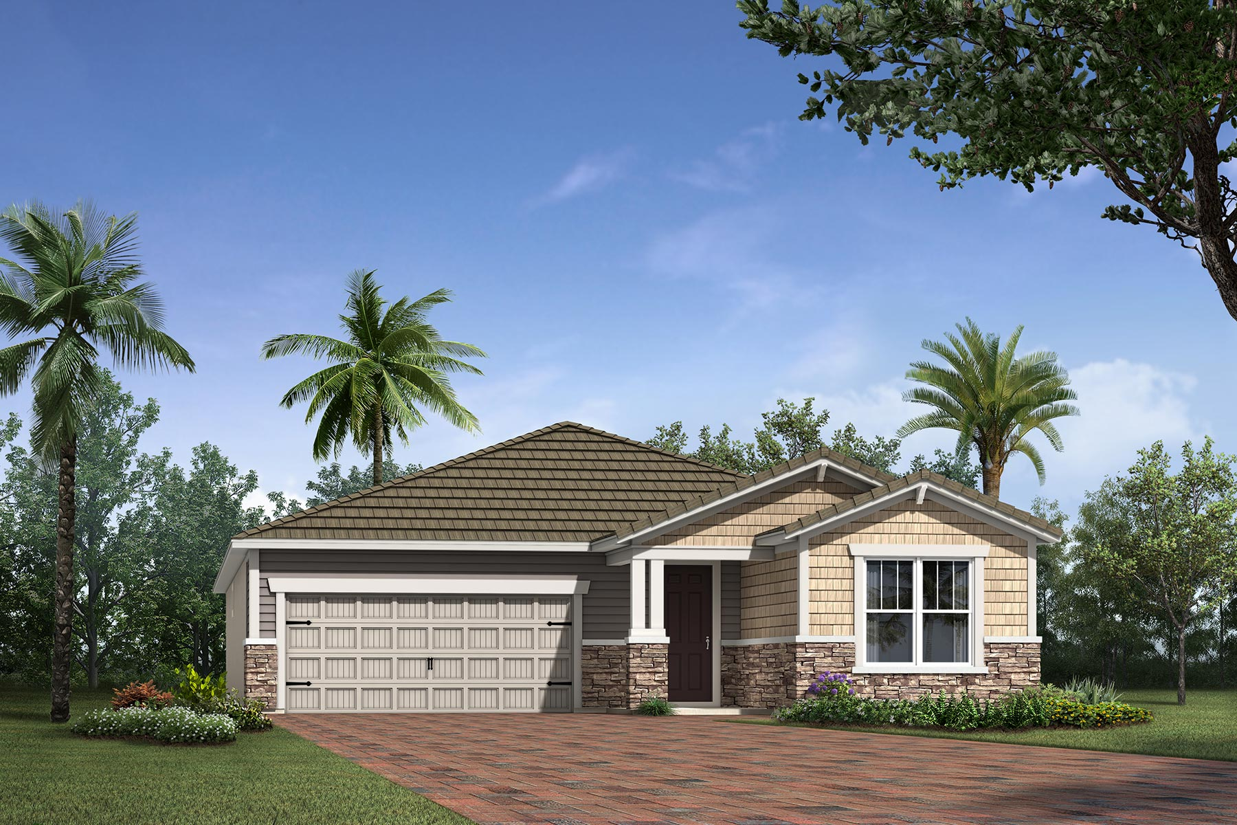 Sunbeam Plan Elevation Front at Sunrise Preserve at Palmer Ranch in Sarasota Florida by Mattamy Homes