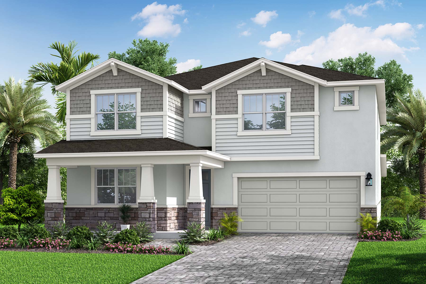 Seville Plan Elevation Front at Parkview at Long Lake Ranch in Lutz Florida by Mattamy Homes
