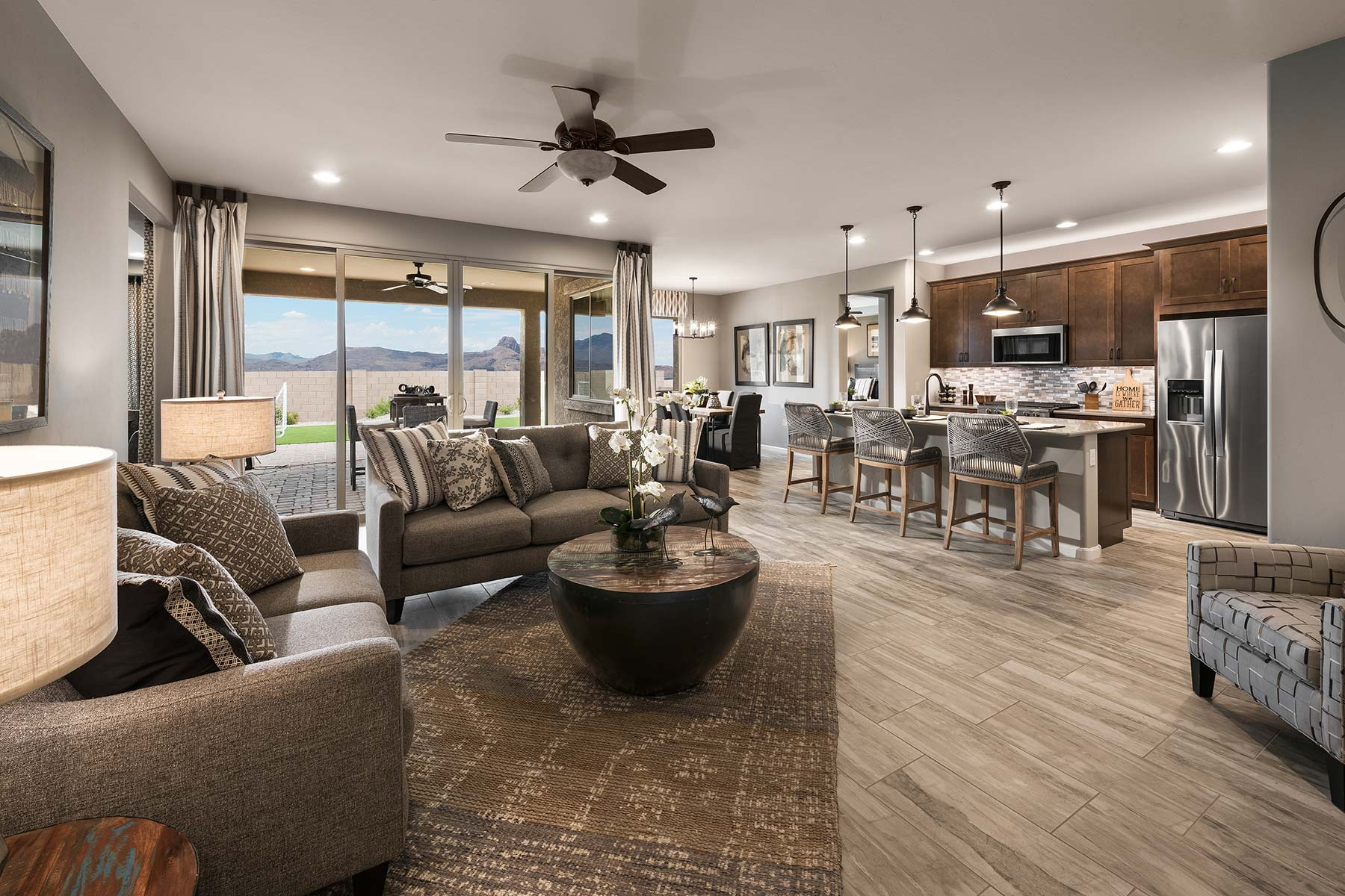 Agave Plan Greatroom at Desert Oasis at Twin Peaks in Marana Arizona by Mattamy Homes