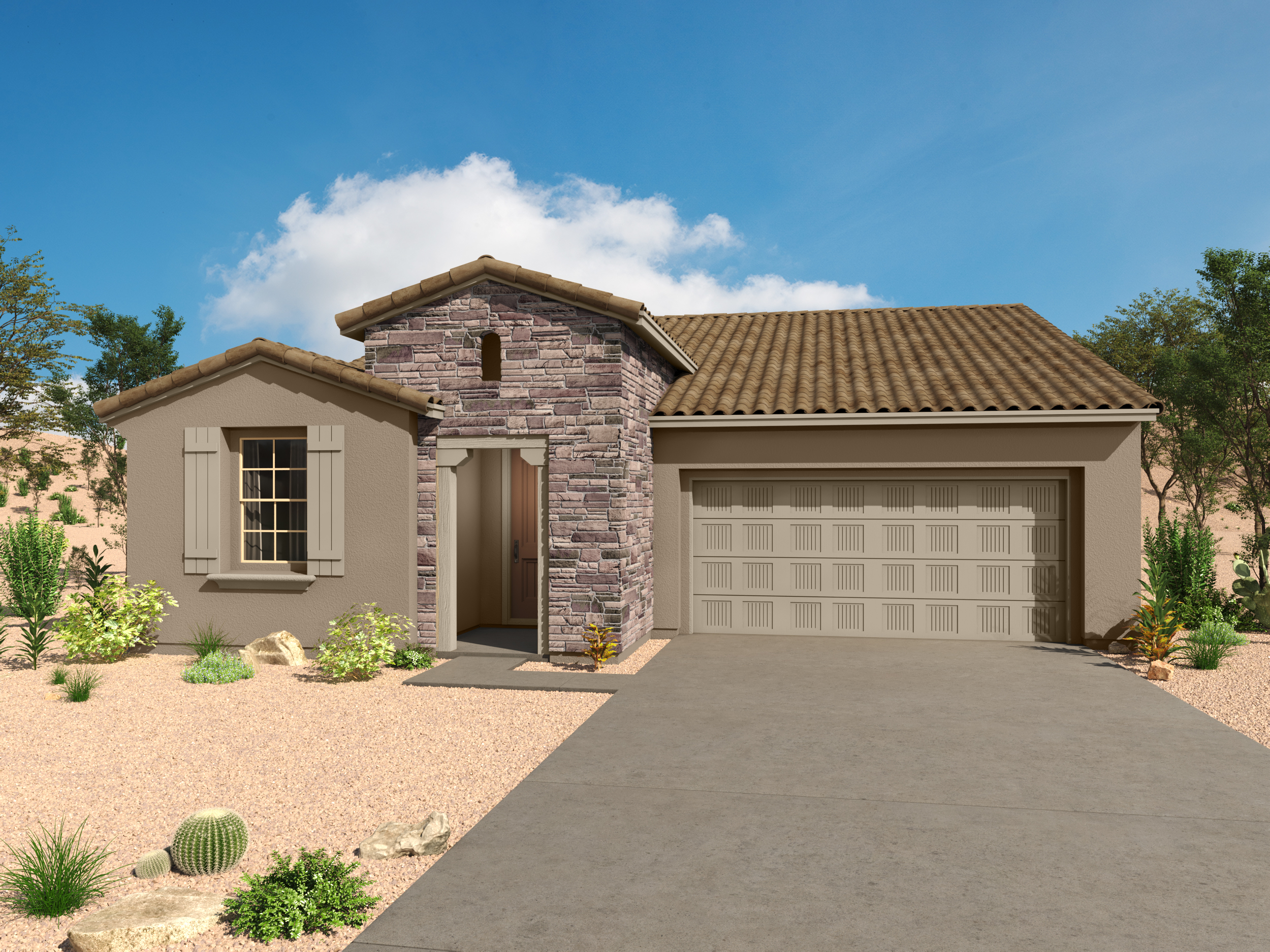 Emory Plan Elevation Front at Desert Oasis at Twin Peaks in Marana Arizona by Mattamy Homes