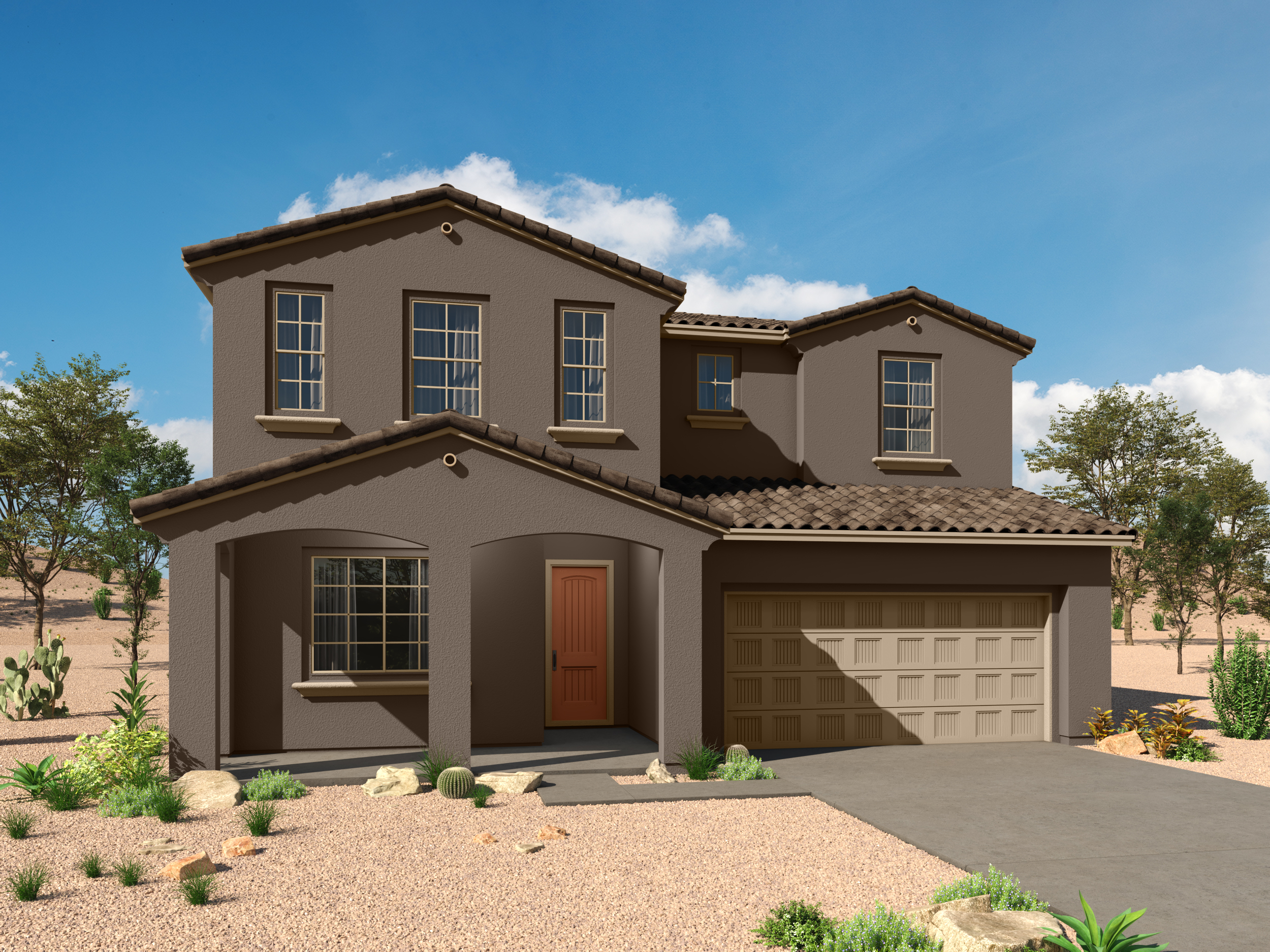 Mesquite Plan Elevation Front at Desert Oasis at Twin Peaks in Marana Arizona by Mattamy Homes