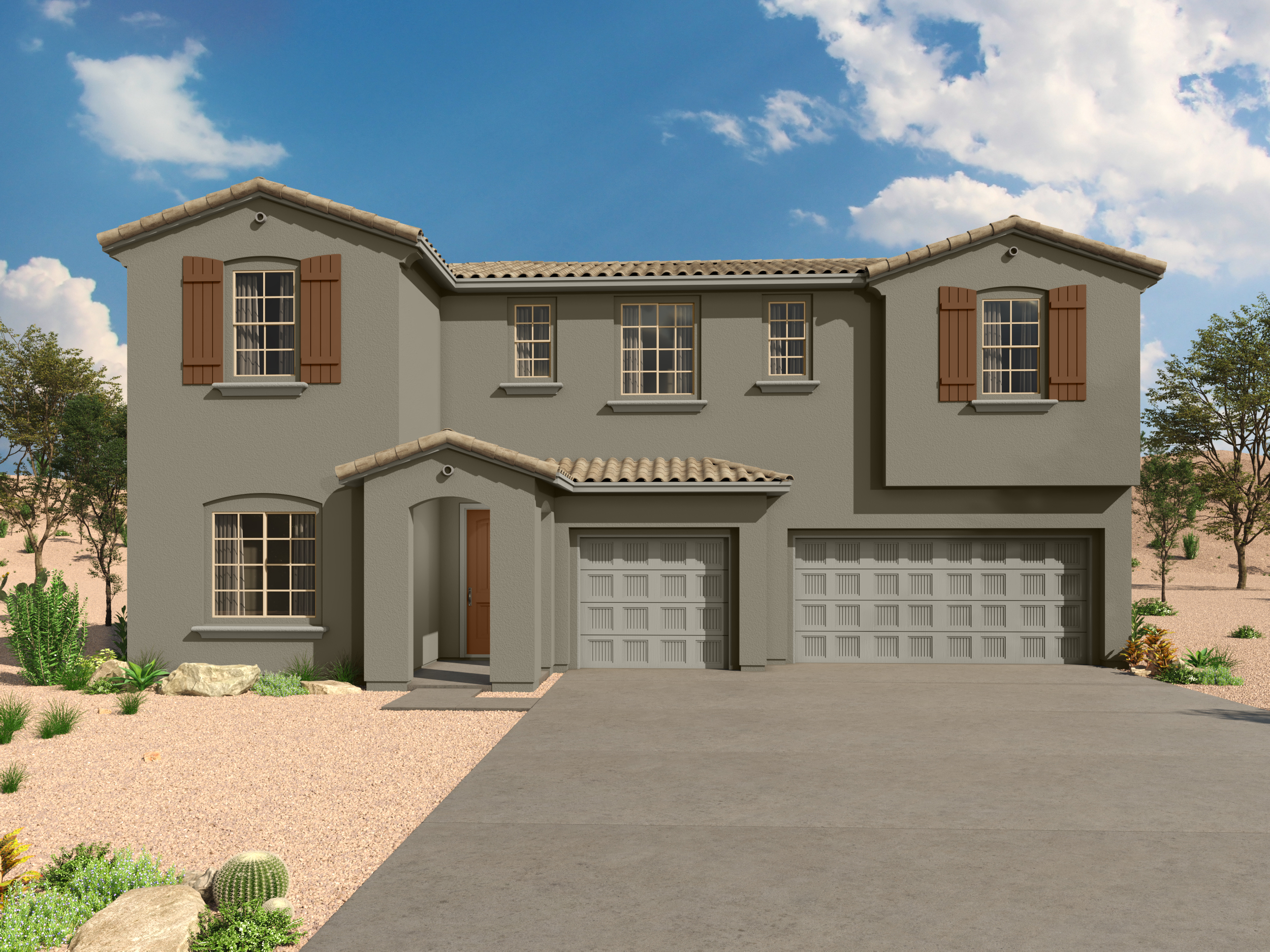 Sophora Plan Elevation Front at Desert Oasis at Twin Peaks in Marana Arizona by Mattamy Homes